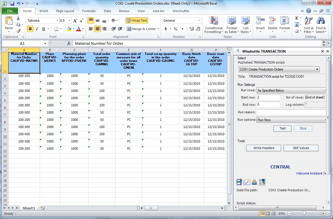 SAP CO01 | Simplify Creation of Production Orders | Winshuttle Software