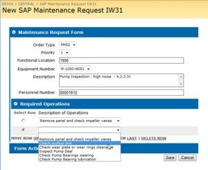 Using a SharePoint InfoPath Form to update a routine SAP Maintenance Request IW31