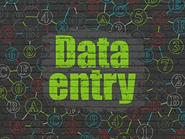 Data concept: Painted green text Data Entry on Black Brick wall background with Scheme Of Hexadecimal Code, 3d render