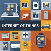 Internet of things computer and smart watch remote control flat icons composition poster abstract isolated vector illustration