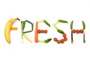 The word fresh written using fruits and vegetables
